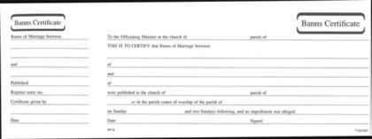 Picture of Banns of Marriage Certificate / Counterfoils (MB6)