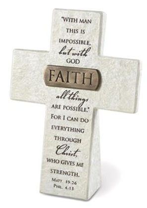 Picture of Cross with bronze title bar - Faith