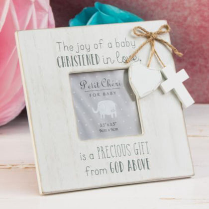 Picture of Christening Frame Cross and Heart White