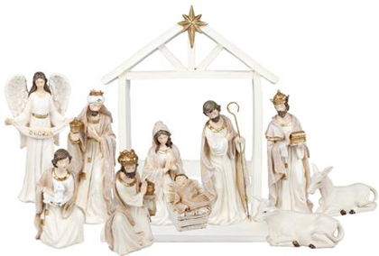"""Picture of Nativity set White resin 11 fig 7"""""""