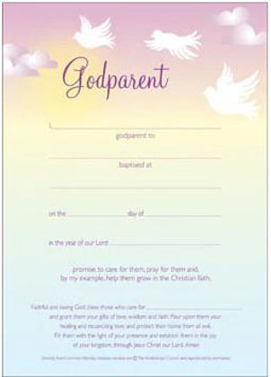 Picture of Certificate - Godparent (Doves) Pink (10